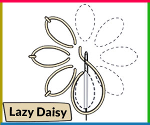 LAZY DAISY - how to start an embroidery stitch