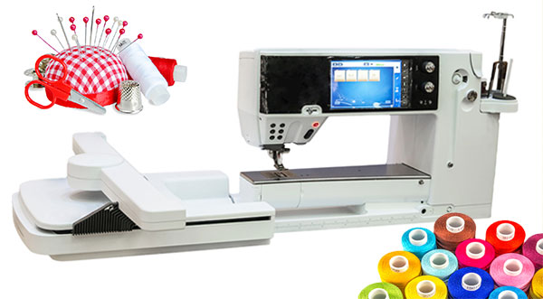 embroidery machine with accessories
