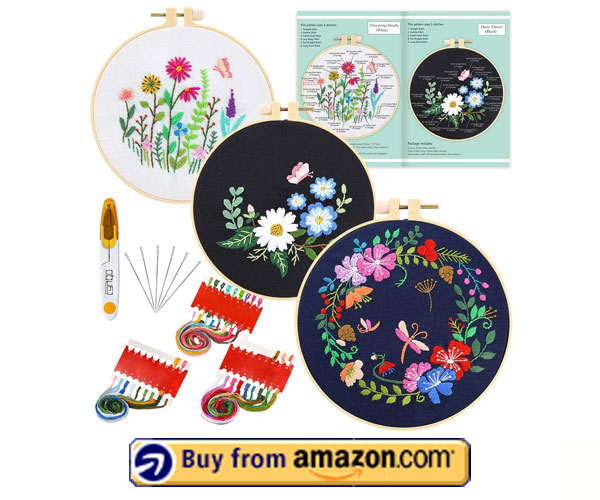 Caydo 3 Sets Embroidery Kit - Best Vintage Hand Embroidery Kits 2021